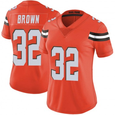 Women's Nike Cleveland Browns Jim Brown Alternate Vapor Untouchable Jersey - Orange Limited